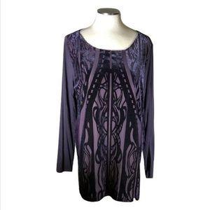 Chicos Long Top Purple Velvet Art Nouveau Tunic
